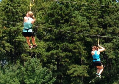 Fly above the trees on the zipline at Tussey Mountain.
